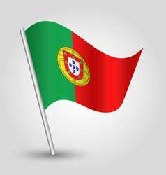 Waving simple triangle portuguese flag vector