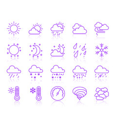 weather simple color line icons set vector image