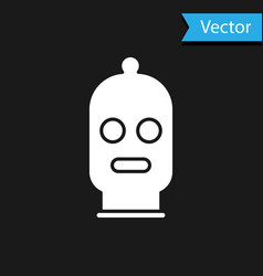 White balaclava icon isolated on black background vector