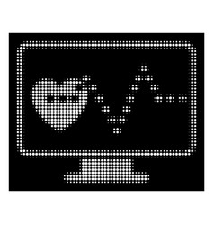 white halftone cardio monitoring icon vector image