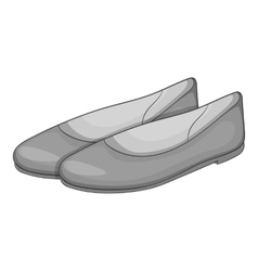Women flat shoes icon gray monochrome style vector