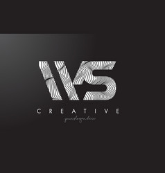 Ws w s letter logo with zebra lines texture vector