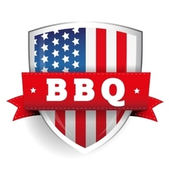 Barbecue vintage shield with usa flag vector