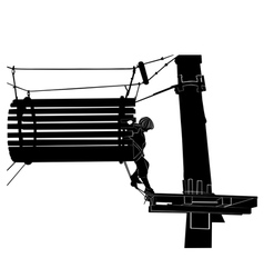 children in adventure park rope ladder vector image vector image