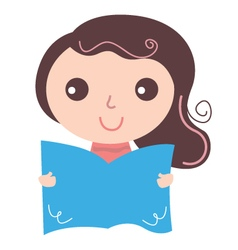 Girl with text book isolate on white vector image vector image