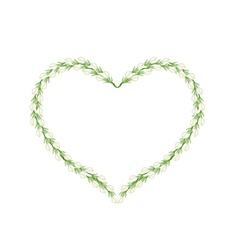 White Jasmine Flowers in Heart Shape Frame vector image