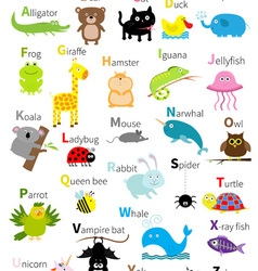 Animal zoo alphabet Cute cartoon character set vector image