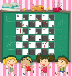 Game template with children in the classroom vector