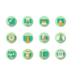 Happy New Year flat round icons vector image