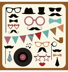 Set of retro party elements mustaches hats and vector