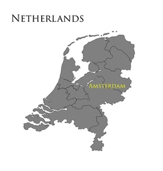 Contour map of Netherlands 01 vector image