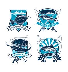 fishing sport club icons set vector image vector image