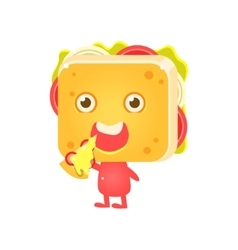 Sandwich Character Eating Pizza vector image