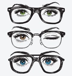 Set of hand drawn womens eyes with glasses vector image vector image