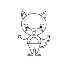 Sketch silhouette caricature of cute cat wink eye vector