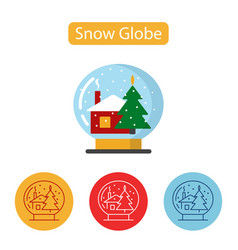snow globe icon simple house sign vector image