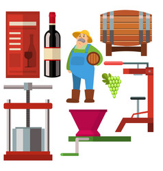 winery making harvest cellar vineyard glass vector image vector image