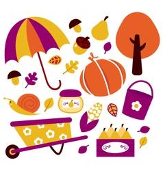 Autumn garden design elements vector image vector image
