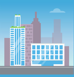 city view with two modern buildings color card vector image vector image
