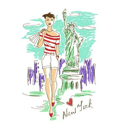 Fashion girl in New York vector image vector image