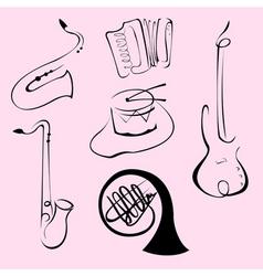 music instruments design set vector image vector image