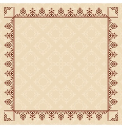 quadratic beige card with vintage frame vector image vector image