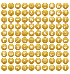 100 help desk icons set gold vector