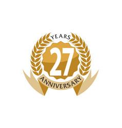 27 years ribbon anniversary vector
