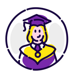 a student in a robes flat icon a graduate of vector image