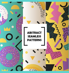 abstract shapes set seamless patterns vector image