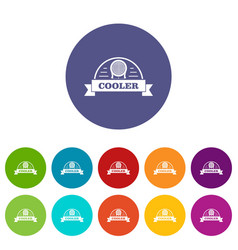 air cooler icons set color vector image