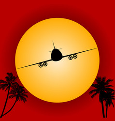 airplane silhouette over red sky and sun vector image