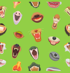 Animals mouth open jaw with teeth or fangs vector