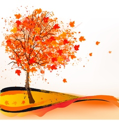 Autumn background with a tree vector
