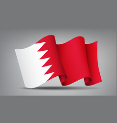 bahrain red and white waving flag icon isolated vector image