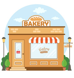 bakery shop building facade with signboard flat vector image
