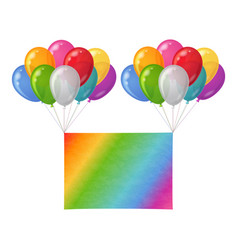 Balloons bunch with paper sheet vector