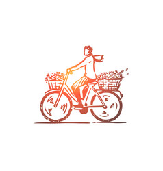 bike woman flower basket concept hand drawn vector image