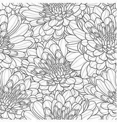 black and white flower seamless hand drawn vector image