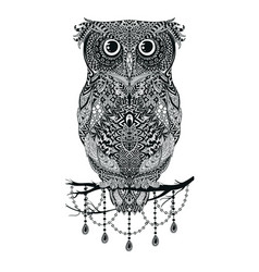 Black hand drawn owl sitting on branch vector