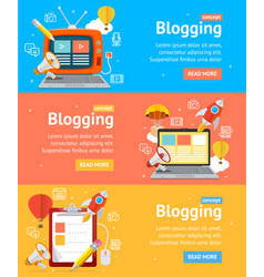 Blogging flyer banners posters card set vector