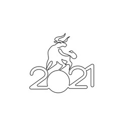 bull continuous one line drawing chinese new year vector image