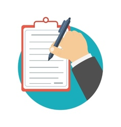 Businessman holding a clipboard and writing vector image vector image