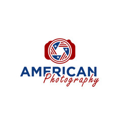 camera and shutter lens with american flag ribbon vector image