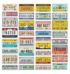 car plates set american vehicles automobile vector image