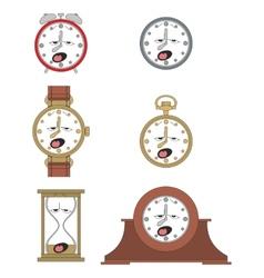 Cartoon funny clock face smiles 011 vector