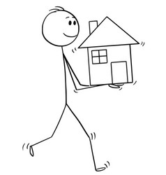 cartoon of man holding house in hands vector image