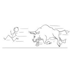 Cartoon of man or businessman running away from vector