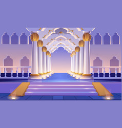 Castle corridor with staircase columns and arches vector