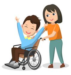 Charity club disable kid on wheelchair children vector